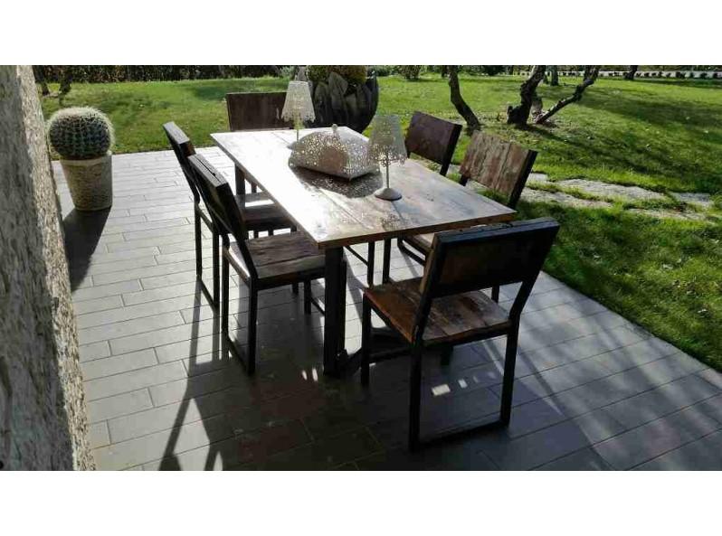 tavolo sei posti in legno di barca per esterno