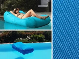 Lettino da piscina in tessuto turchese