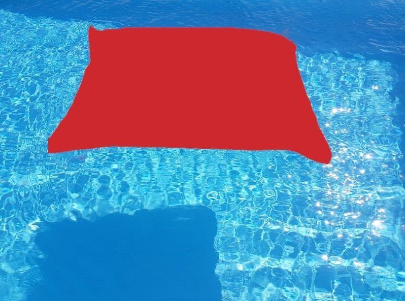 Cuscino galleggiante in tessuto rosso