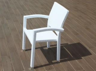 Sedia da giardino in rattan bianco