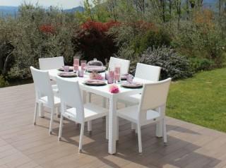 Tavolo da esterno in rattan bianco
