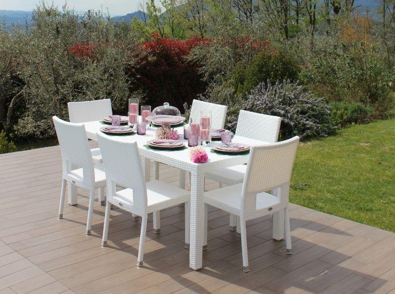 Immagini Tavoli Da Giardino.Tavolo Da Esterno Bianco In Rattan Sintetico Di Alta Qualita E Design