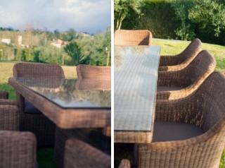 Tavolo da giardino in rattan sintetico effetto naturale