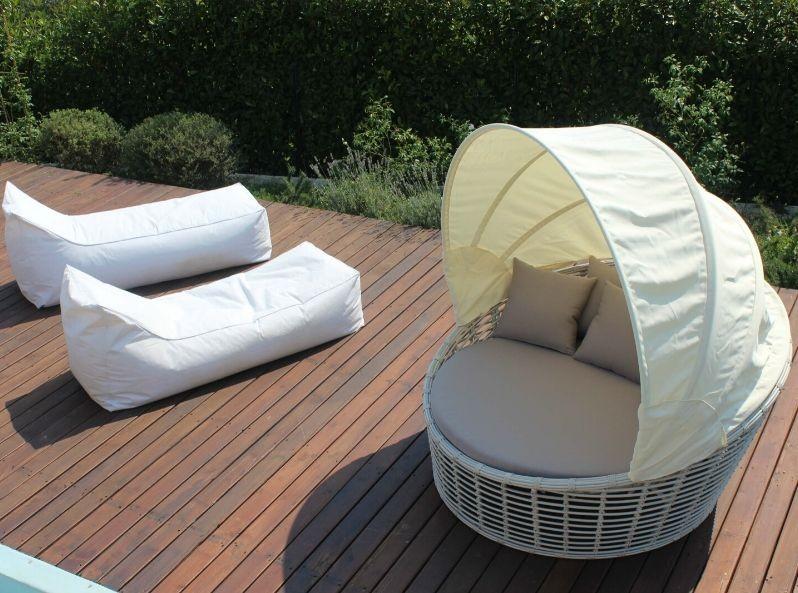 Divano con parasole Nest white