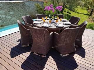 Tavolo da esterno in fibra tonda