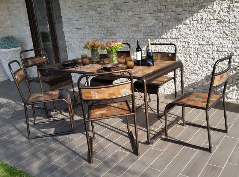 Tavolo industrial in legno di barca