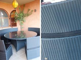 Tavolo tondo da esterno in rattan