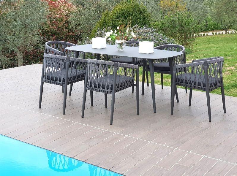 Tavoli Da Esterno Design.Tavolo Sei Posti Per Esterno In Alluminio E Sedie In Corda Sintetica