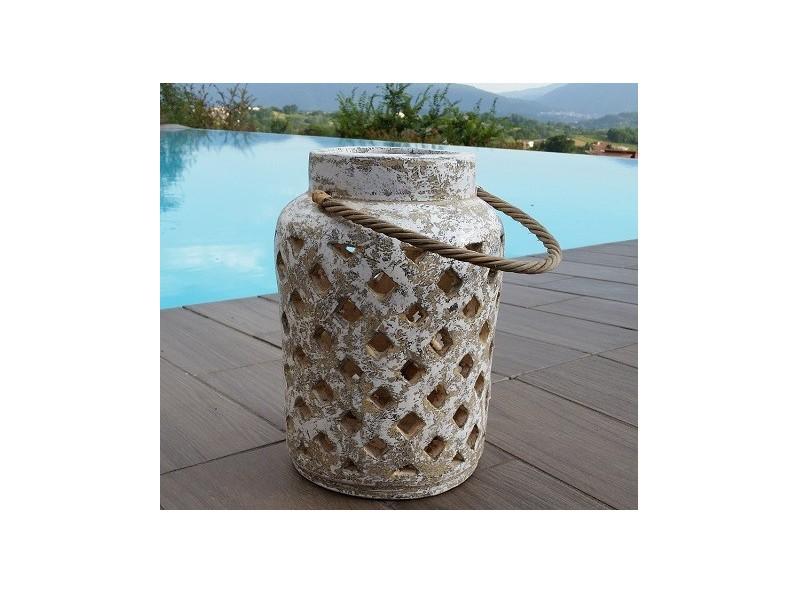 Lanterna artigianale in terracotta con manico in corda